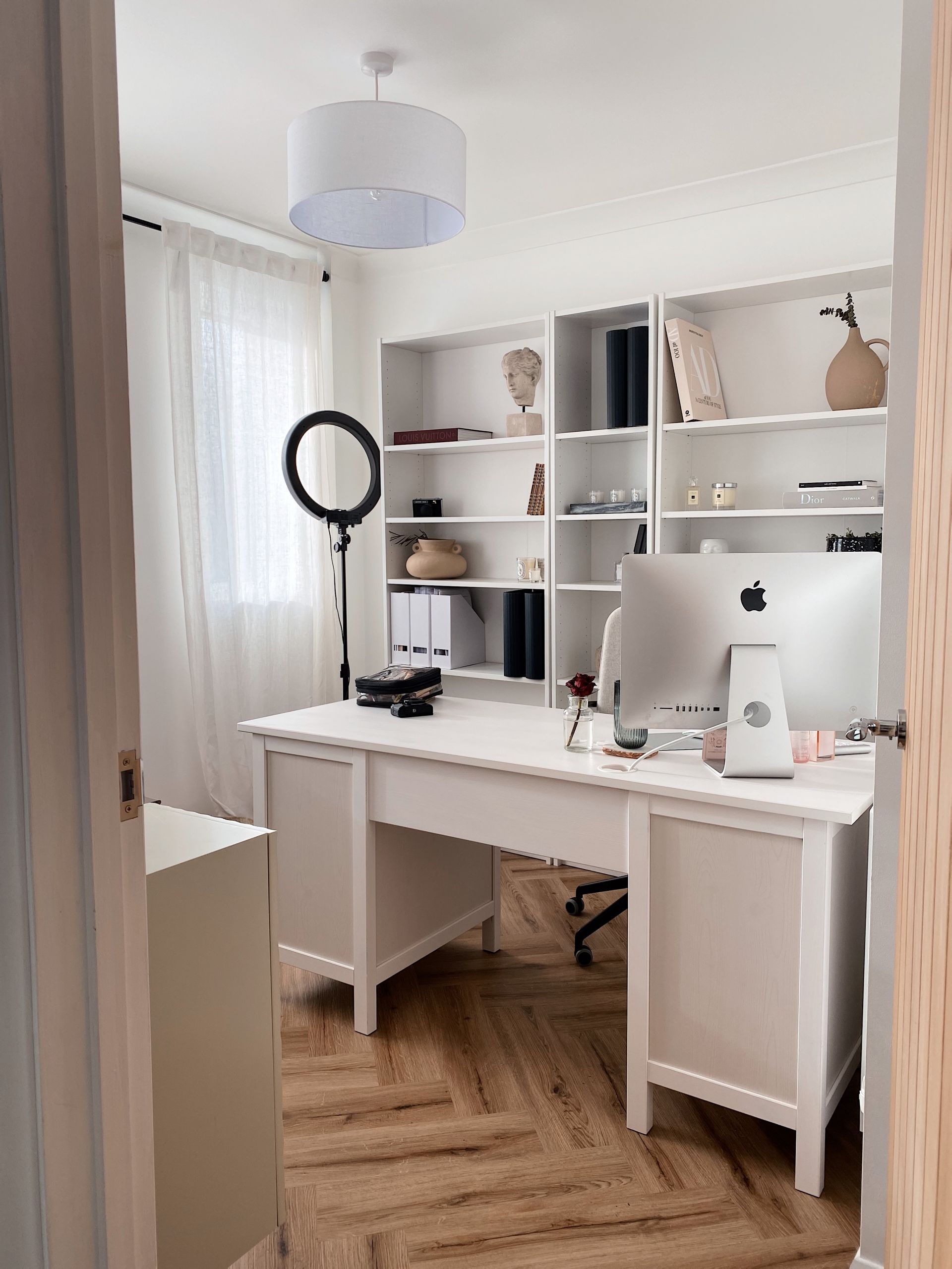 small white modern classic home office wooden flooring white walls ikea office furniture